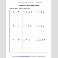 Free Worksheets For Comparing Or Ordering Fractions