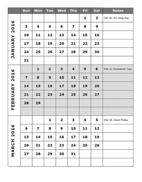 quarterly calendar template p  printable