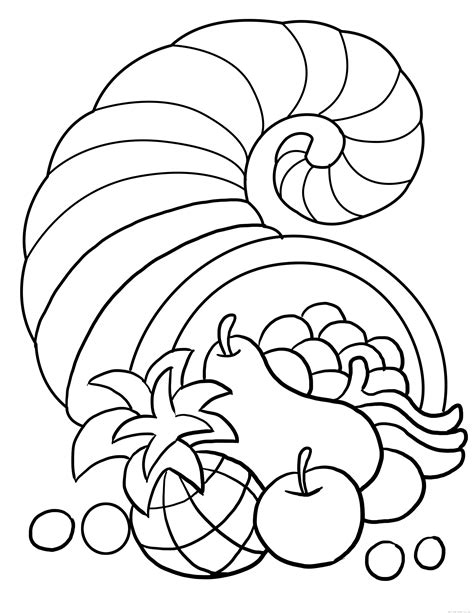 thanksgiving cornucopia coloring sheet  kidsfree printable coloring pages  kids