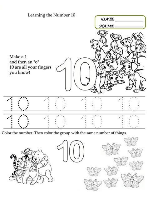 Number 10 Worksheets For Preschool  Activity Shelter