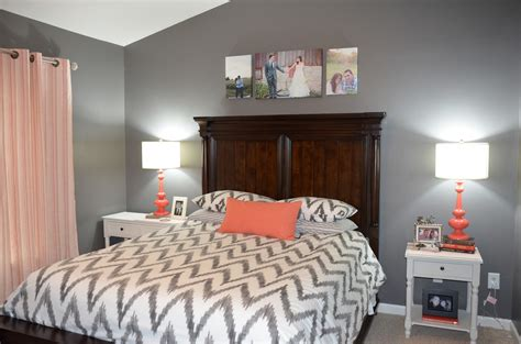 {jessica Stout Design} Coral + Gray Master Bedroom {my Home}