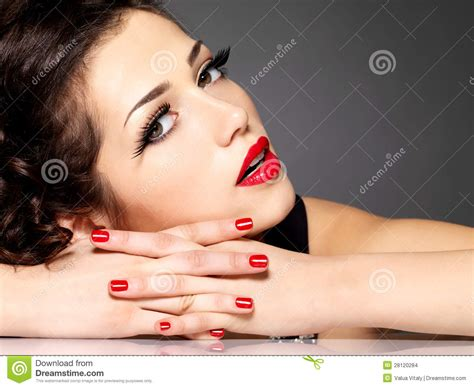 Beautiful Sensuality Woman With Red Nails And Lips Stock