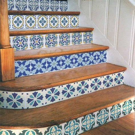 portuguese tile stencil set  great  stenciled stair
