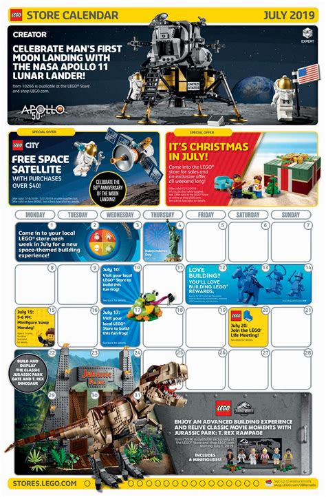 lego july  store calendar promotions