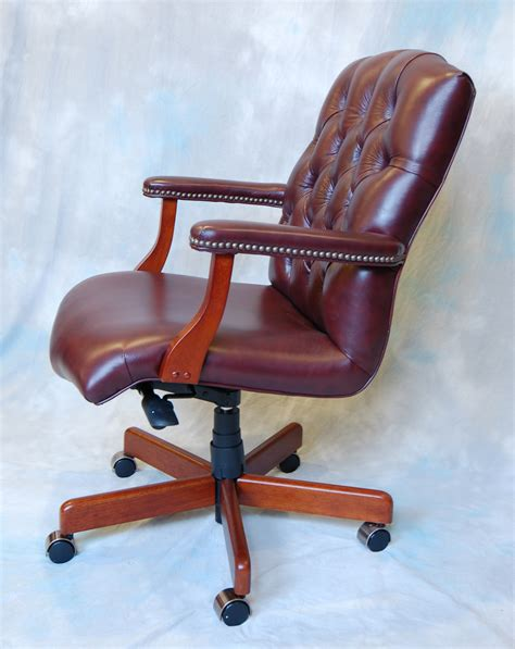 maroon leather button tufted executive office desk chair