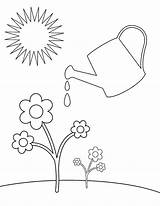 Watering Coloring Plants Plant Drawing Pages Cartoon Spring Flower Water Flowers Sheets Sun Easy Printable Getcolorings Childcoloring Print sketch template
