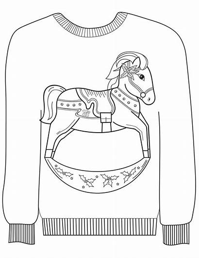 Ugly Sweater Coloring Christmas Horse Pages Rocking
