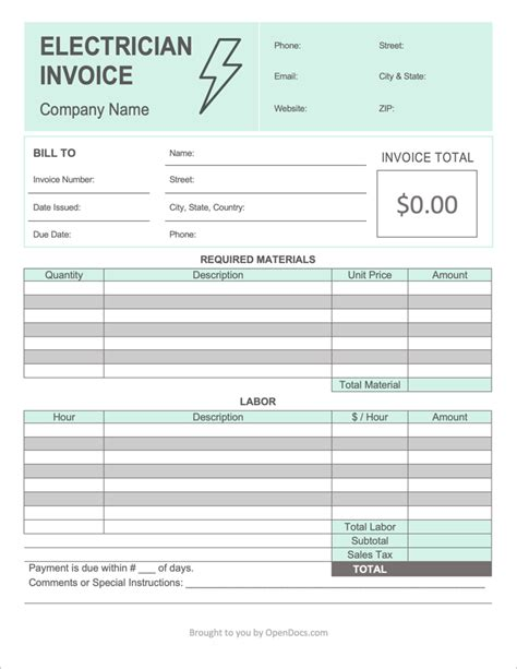 electrician invoice template  word excel