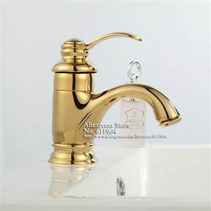 Luxury single handle brass gold color bathroom bath vessel for Gold bathroom sink taps