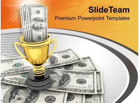 winner trophy  award money powerpoint templates