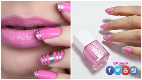 nail art pintado de unas  cinta adhesiva muy facil