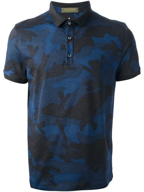 valentino camouflage polo shirt  blue  men lyst