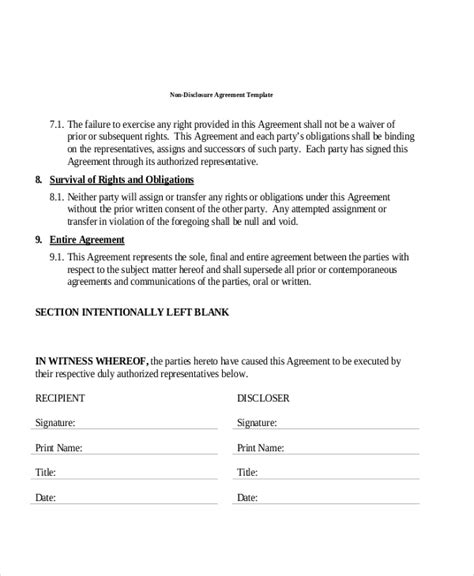 sample  disclosure agreement forms   ms word