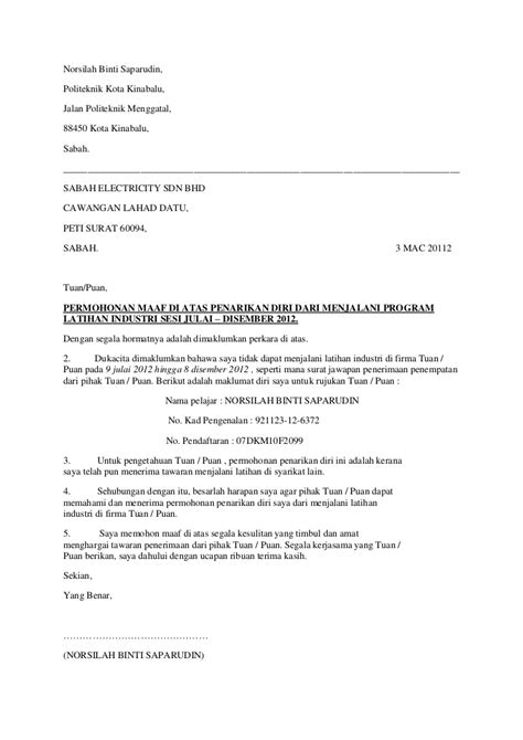 surat mohon maaf menolak tawaran latihan industri