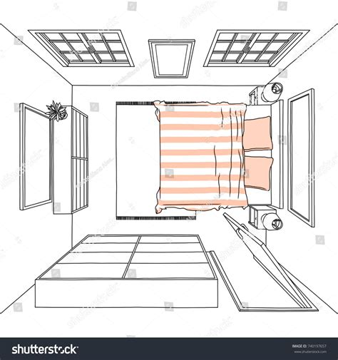 Drawing Of Bedroom by Sketch Drawing Of Size Bedroom Top View