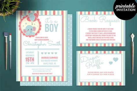 printable elephant baby shower invitation templates