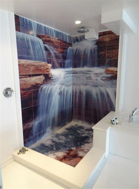 Fall In Shower Floor by Waterfall Shower Tile Murals Tile By Design Oh Yeah