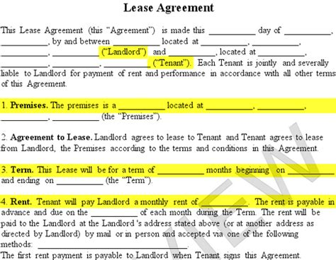 residential lease agreement form  rental agreement