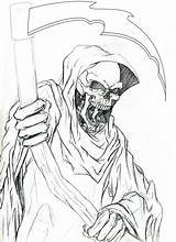 Reaper Grim Outline Tattoo Evil Drawings Drawing Outlines Tattoos Colouring Designs Easy Demon Coloring Sketches Sketch Pencil Cool Draw Skulls sketch template
