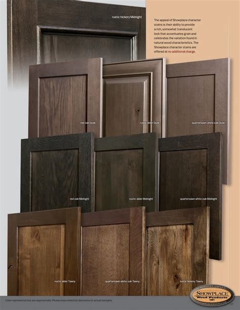 showplace cabinetry styles woods finishes booklet