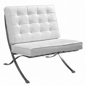 Fauteuil Cuir Blanc : fauteuil cuir blanc chrome design chic barcelon univers ~ Melissatoandfro.com Idées de Décoration
