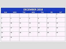 December 2018 Calendar Printable Template with Holidays Free