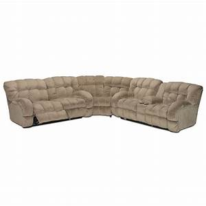 Putty microfiber 3 piece reclining sectional for 3 piece microfiber recliner sectional sofa
