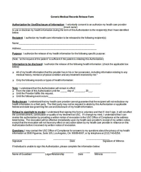 release of mental health records form 10 medical release forms free sle exle format