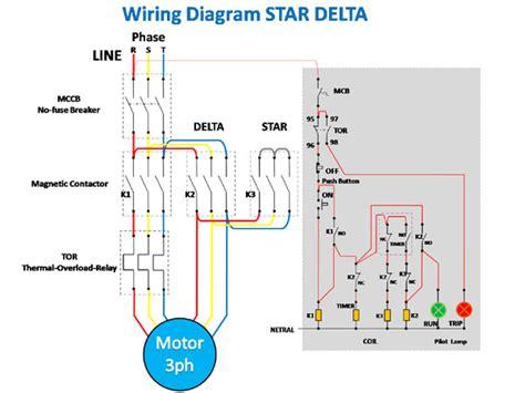 wiring diagram rangkaian delta untuk starting motor 3ph