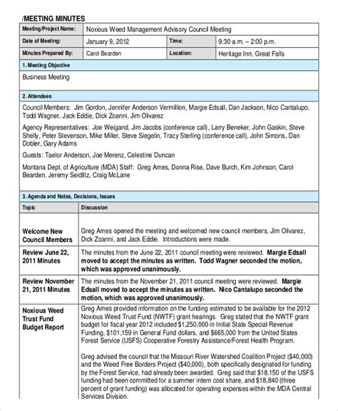 meeting minutes template 18 corporate minutes template free sle exle format free premium templates
