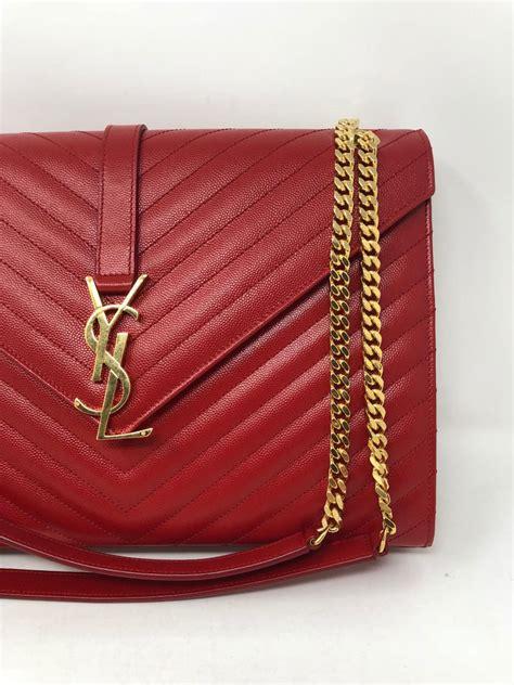 ysl red leather large matelasse chain shoulder bag  stdibs