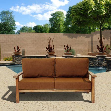 gilli outdoor teak wood sofa  sunbrella cushions