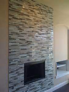 Glass Mosaic Tile Fireplace