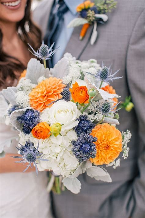 southern blue celebrations orange wedding flower bouquets