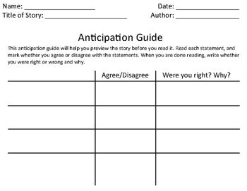 anticipation guide template anticipation guide template and quot the boy who invented tv quot exle by teacherfig