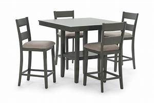Loft Grey Counter Table With 4 Counter Stools HOM Furniture