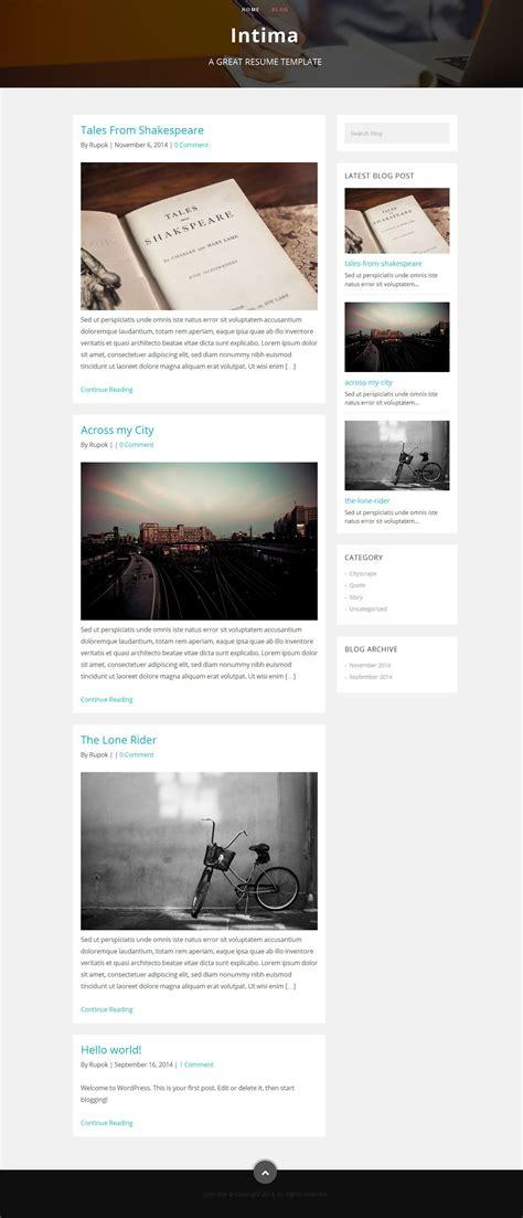 intima resume portfolio theme by bdinfosys