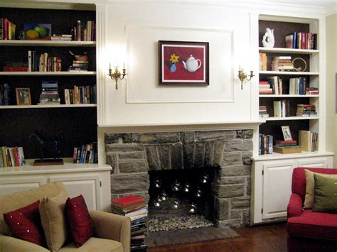 gas fireplace river rocks 100 half day designs update fireplace and bookshelves hgtv
