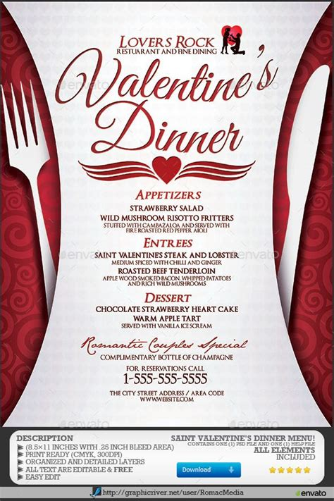 valentines dinner menu cupid dinner