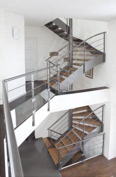 escalier mixte bois metal escaliers on stairs glass railing and mezzanine