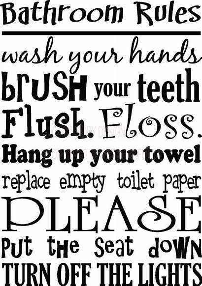 Bathroom Sayings Printable Quotes Decals Vinyl Rules