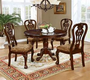 Formal, Traditional, Antique, Dining, Room, Furniture, 5pcs, Set, Classic, Round, Dining, Table, And, Padded