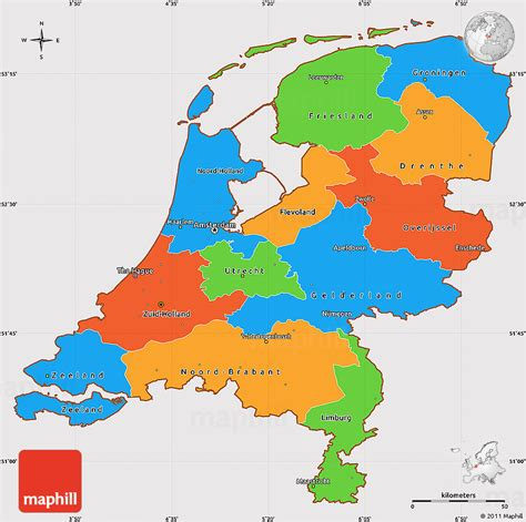 gray and white shades political simple map of netherlands cropped outside