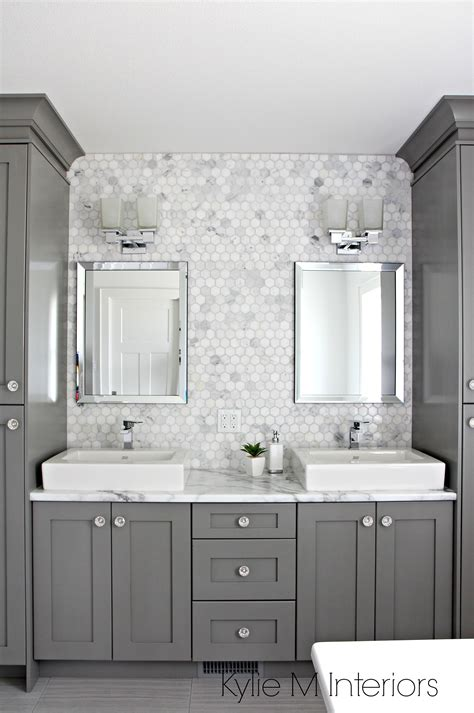 double vanity  bathroom painted benjamin moore chelsea