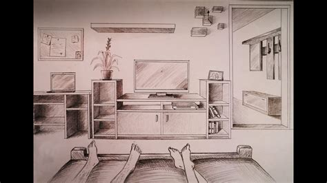 draw  point perspective bedroom  furniture