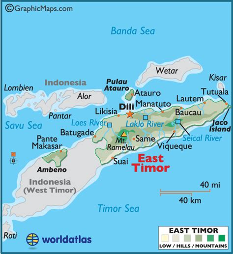 east timor large color map