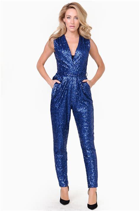 sparkle jumpsuit v neck sequin jumpsuit in blue