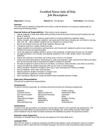 Cna Duties For Resume by Sle Cna Resume 9 Exles In Word Pdf