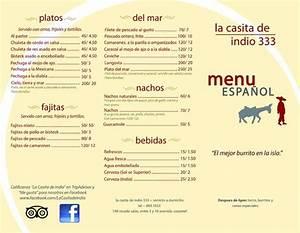 Nuestra menu en espanolOur menu in Spanish (outside