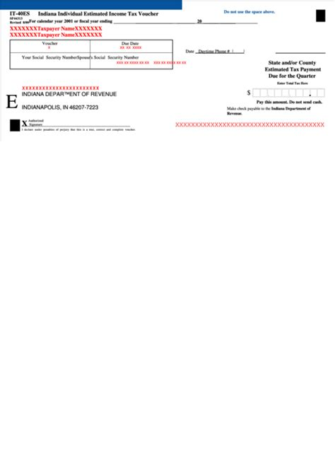 Form It 40es Indiana Individual Estimated Income Tax Voucher And Account Change Form Printable
